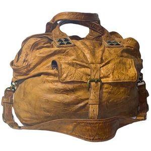 Tylie Malibu Tan Leather Studded Satchel Hand Bag
